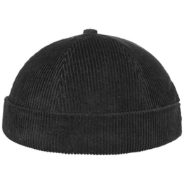 Miki Cord Dockermütze Dockercap Hafenmütze Cordmütze Kordmütze Baumwollmütze Beanie Seemannsmütze (One Size - schwarz) -