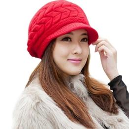 Minetom Damen Winter Elegante Warme Strickmuetzen Schirmmuetze Skimuetze (Rot) -