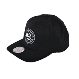 Mitchell & Ness Curved Dad Hat Atlanta Hawks Snapback Cap, Black/White, one size -