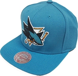 Mitchell & Ness San Jose Sharks Wool Solid NZ980 Teal Snapback Cap Basecaps NHL -