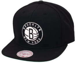 Mitchell & Ness Wool Solid Snapback - BROOKLYN NETS - Black, Size:ONE SIZE -