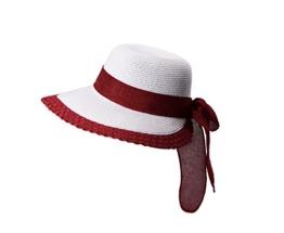 Miuno® Damen Sonnenhut Partyhut Stroh Hut Schleife H51058 (rot) -