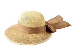 Miuno® Damen Sonnenhut Partyhut Stroh Hut Schleife H51035 (Camel) -