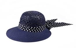 Miuno® Damen Sonnenhut Partyhut Stroh Hut Schleife H51009 (Navy Blue) -
