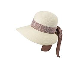 Miuno® Damen Sonnenhut Partyhut Stroh Hut Schleife H51054 (cream) -