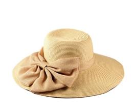 Miuno® Damen Sonnenhut Partyhut Stroh Hut Schleife H51041 (Beige) -