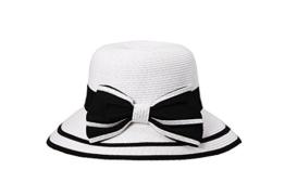 Miuno® Damen Sonnenhut Partyhut Stroh Hut Schleife H51050 (weiß/schwarz) -
