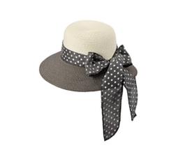 Miuno® Damen Sonnenhut Partyhut Stroh Hut Schleife H51056 (grau) -