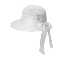 Miuno® Damen Sonnenhut Partyhut Stroh Hut Schleife H51092 (Weiß) -