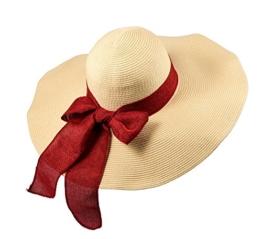 Miuno® Damen Sonnenhut Partyhut Stroh Schlapphut große Kempe Schleife H51040 (Rot) -