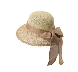 Miuno® Damen Sonnenhut Partyhut Stroh Hut Schleife H51051 (camel) -