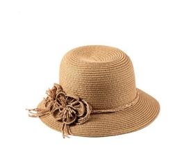 Miuno® Damen Sonnenhut Partyhut Stroh Hut Blume H51043 (Khaki) -