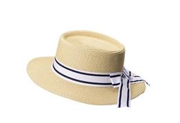 Miuno® Damen Sonnenhut Partyhut Stroh Hut Schleife H51053 (beige) -