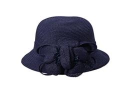 Miuno® Damen Sonnenhut Partyhut Stroh Hut Blume Glocke H51062 (Navyblau) -
