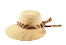 Miuno® Damen Sonnenhut Partyhut Stroh Hut Schleife H51037 (Beige) -