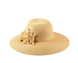 Miuno® Damen Sonnenhut Partyhut Stroh Hut Blume H51042 (Beige) -