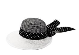 Miuno® Damen Sonnenhut Partyhut Stroh Hut Schleife H51036 (Weiß) -