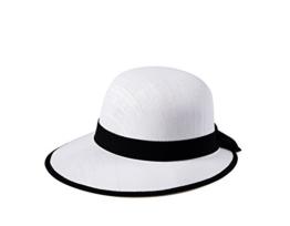 Miuno® Damen Sonnenhut Partyhut Stroh Hut Schleife H51011 (Weiß) -