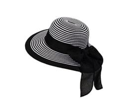 Miuno® Damen weich Sonnenhut Partyhut Stroh Hut Schleife H51065 (schwarz) -