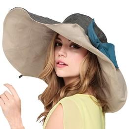 Mode Frauen Sommer Strand Hut Damen großer Rand Anti-UV Hut faltbare Sonnenhut (Gray) -