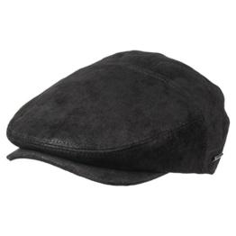 Mütze Schirmmütze Merrick Leder Flatcap Stetson (L/58-59 - schwarz) -