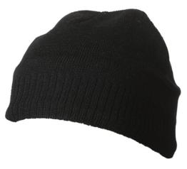 Myrtle Beach Uni Strickbeanie mit Fleeceeinsatz, black, One size, MB7925 bl -