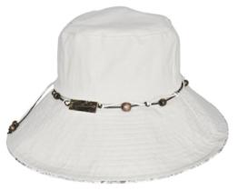 MYTEM-GEAR Breitkrempiger Damen Hut Sonnenhut Strandhut mit Perlenband und Blumenmuster (57 cm, weiß) -