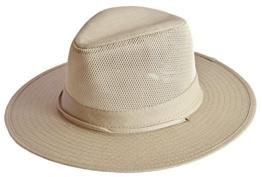 MYTEM-GEAR Herren Ripstop Australierhut Buschhut Safarihut Mütze Hut Outdoor mit Kinnband und Mesheinsatz (58 cm, stein) -