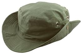 MYTEM-GEAR Unisex Australierhut Buschhut Safarihut Mütze Hut Outdoor mit Kinnband und seitlichen Druckknöpfen (60 cm, olive) -