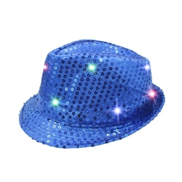 Namsan Jazz-Hut / Party-Hut, mit 9 blinkenden und farbenfrohen LEDs beleuchtet, mit Pailletten besetzt, blau -