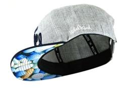 Nebelkind Snapback Cap grau mit blauem Schirm und Pillenmuster onesize unisex -