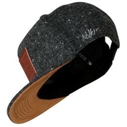 Nebelkind Snapback Cap graumeliert edel Patch aus Leder onesize unisex -
