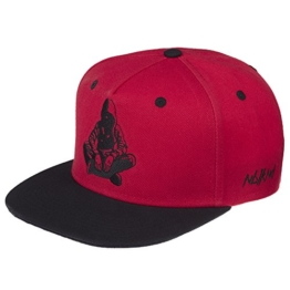Nebelkind Snapback Cap rot schwarz mit Stickerei edel onesize unisex -