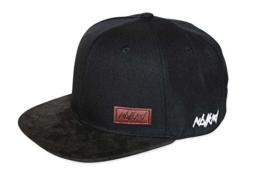 Nebelkind Snapback Cap schwarz schlicht Schirm aus synthetischem Leder onesize unisex -