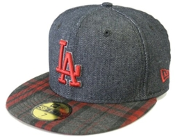 NEW ERA Baseball Cap 59FIFTY LA Dodgers Plaid Denim black scarlet Gr. 7 -