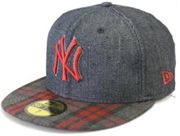 NEW ERA Baseball Cap 59FIFTY NY Yankees Neyyan Plaid Denim black scarlet Gr. 7 1/8 -