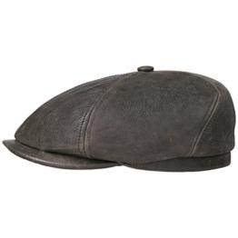 Oregon Cowhide Flatcap Schirmmütze Schiebermütze Ledermütze Ledercap Mütze Stetson Ledercap Schirmmütze (L/58-59 - braun) -