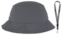 Original Flexfit Fischerhut Bucket Hat in Grau + Schlüsselband von 2stoned -