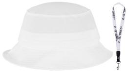 Original Flexfit Fischerhut Bucket Hat in Weiss + Schlüsselband von 2stoned -