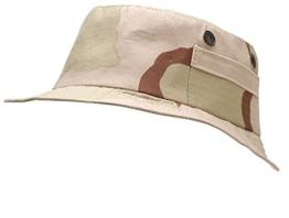 Outdoor Angelhut Fischerhut mit Außentäschchen Hat Schlapphut in vielen Farben und Größen (XL, 3 Farben Desert) -