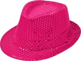 Pailletten Hut Glitzer Kappe Sylvester Karneval Party 11 Farben (Pink) -