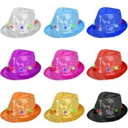 Partyhut Palliettenhut mit Lichteffekten per Knopfdruck in verschiedenen Farben ideal für Fasching (Gelb) -