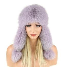 Pelzmütze Fellmütze FUCHS Leder Fliegermütze Wintermütze Skimütze Fox Uschanka Polarmütze Russische Damen Mütze Echt Fell -