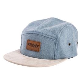 Phoenix Denim Beast 5-Panel Cap Jeans Blau Wildleder Unisex Baseball Mütze -