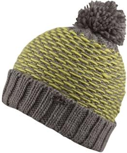 Ramon -Strick Mütze mit Innenfleece - Herren- Damenmütze Strickmütze mit Bommel (grau/citrus) -