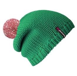 Reflektor Mütze grün mit Leuchtbommel reflektierend in altrosa - Sicher im Straßenverkehr! -