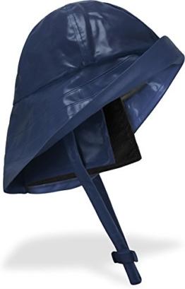 Regenhut Südwester mit Kinnband, breiter Krempe und Innenfutter Farbe Marine Größe L -