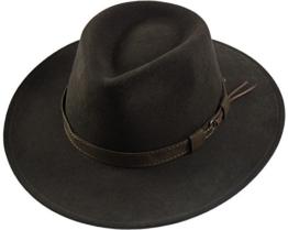 Rollbarer Hut mit breiter Krempe braunes Stoffband in 3 Farben!, Kopfgröße:55;Farben:dunkelbraun -