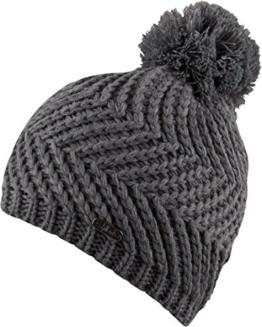 Ronja leichte Strickmütze mit Bommel einfarbig Beanie Strickmütze Mütze Wintermütze mit Fleece Damen Bommelmütze (grau melange) -