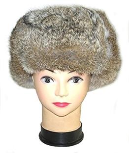 RUSSISCHE FELLMÜTZE GRAU/BRAUN KANINCHENFELL WOLLE, SCHAPKA USCHANKA - Größen verfügbar: 60/61(SIZE XL) -